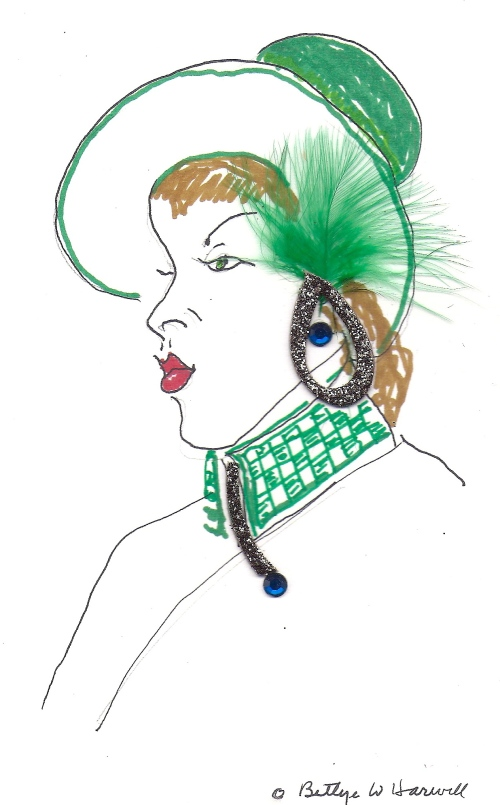 Green Hat with Embellishments