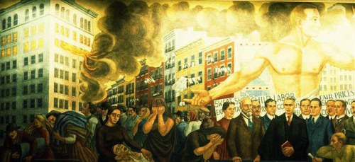 Triangle Shirtwaist Factory Fire- from a mural by Ernest Feeney